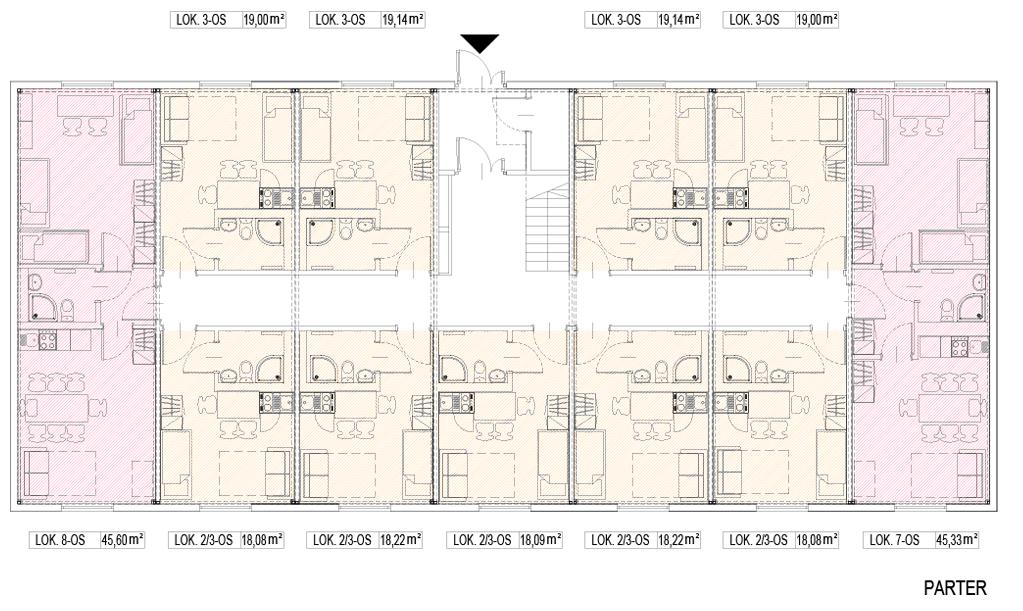 Przykładowy rysunek parteru budynku modułowego