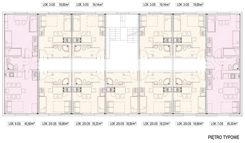 Przykładowy rysunek piętra budynku modułowego