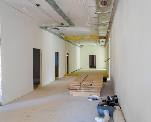 Wnętrze prefabrykowanego modułu budowlanego Climatic