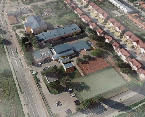Wizualizacja rozbudowy budynku Szkoły Podstawowej Nr 128 w technologii modułowej
