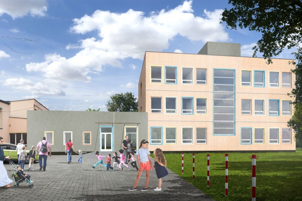 Climatic implements extension of the Primary School No. 128 in Warsaw Wawer